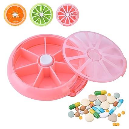 Yosoo Portátil giratorio pastillero 7 días Medicina Vitaminas recipiente dispensador de almacenamiento, estilo de diseño