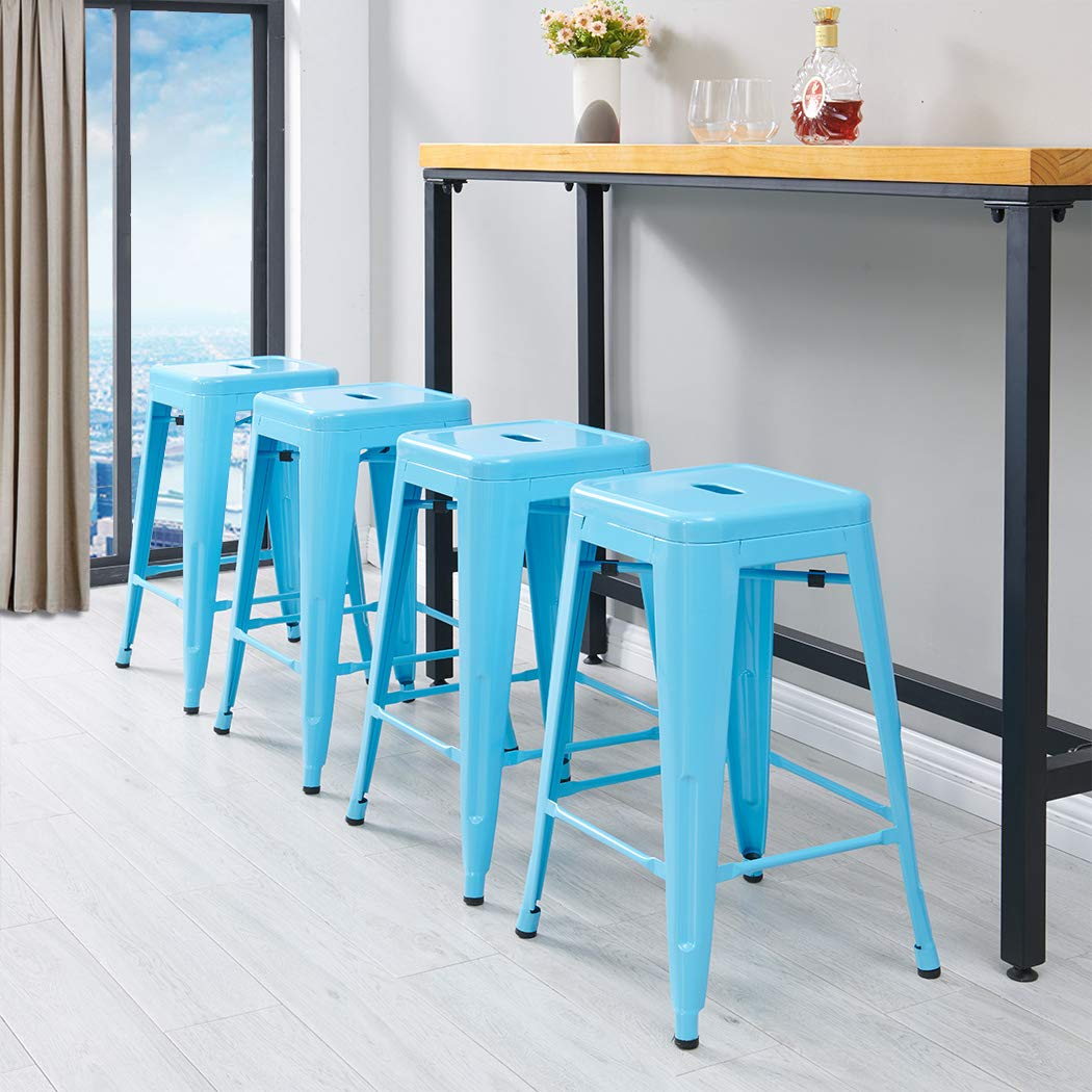 Industrial Design Metal Iron Stool 24 Set of 4 Duhome WY-665B Metal Chair Blue 24
