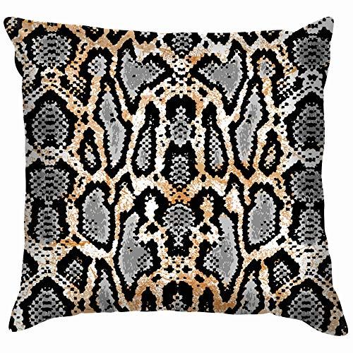 Snake Texture Print Soft Cotton Linen Cushion Cover Pillowcases Throw Pillow Decor Pillow Case Home Decor 18X18 Inch