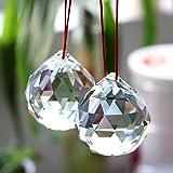 BTSKY Bolas de Cristal Colgantes Hialino 2 Pcs Vidrios Transparentes de 50 mm con Caja de Regalo para Feng Shui o Decoración para Hogar Bodas y Fiestas