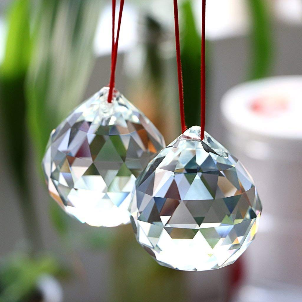 BTSKY 2 Pcs 50mm Clear Crystal Prisms Ball Suncatcher Crystal Ball Hanging Crystal Ball With Gift Box For Feng Shui Home Wedding Party Decoration