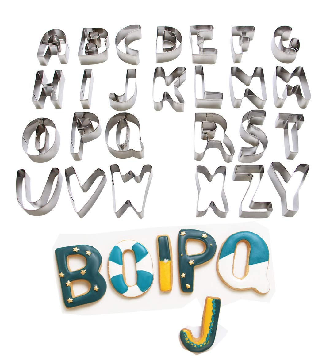 ShengHai 26-Piece Large Alphabet Cookie Cutter Set (A - Z), Stainless Steel Decorating Tools Letters Fondant Cutter by ShengHai (Image #8)