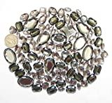 LOVEKITTY 100 pcs lot - Sew-On Gems - Gray Mixed Shapes Flat Back Gems (Mixed Sizes has thread holes)