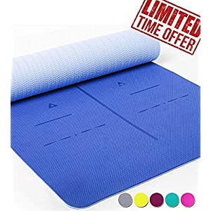 Heathyoga Eco Friendly Non Slip Yoga Mat, Body Alignment System, SGS Certified TPE Material – Textured Non Slip Surface and Optimal Cushioning,72″x 26″ Thickness 1/4″