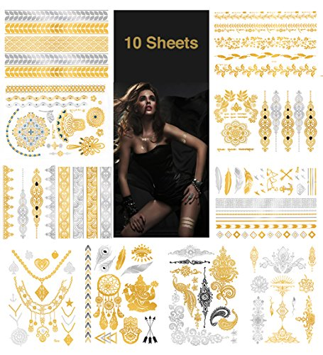Temporary Metallic Tattoos, Waterproof Non-Toxic 175+ Designs, 10 Large Sheets Henna Tattoos in Gold & Silver, Gold102]()