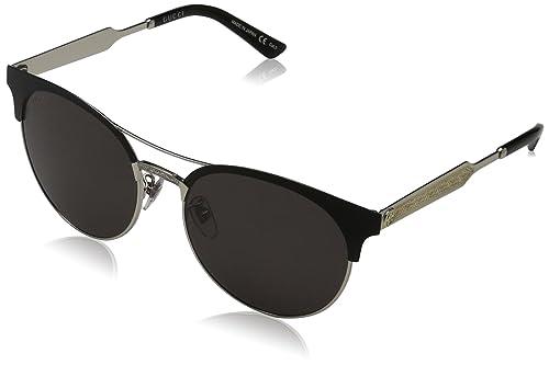 Gucci 0075S_001 (56 mm), Gafas de Sol para Mujer, Black / Silver, 56