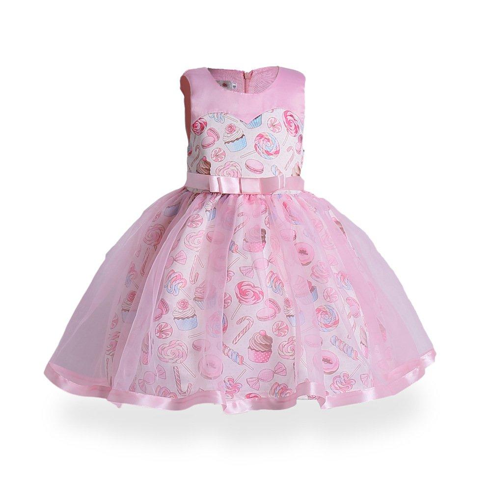 Mrsrui Girls Summer Casual Dress Sleeveless Vintage Print Swing Party Dresses Birthday Gift (140#, Red)