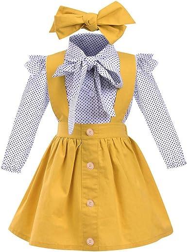 beautyjourney 3 Piezas Bebé Niña Elegante Ropa Blusa de Manga Larga Delgada con Estampado de Puntos Camisa + Falda de la Correa + Banda para el Cabello Conjunto de Trajes: Amazon.es: Ropa