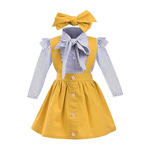 add0386127a Kehen 3pc Kid Toddler Baby Girl Dress Set Polka Dot Ruffles Sleeve Bow Shirt +Suspender