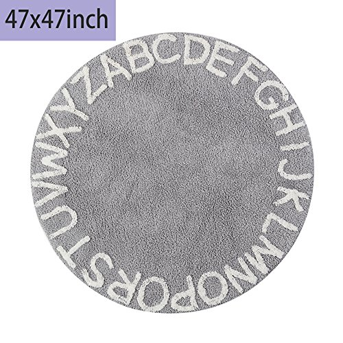 Baby Haute Jungle (blue page Educational 26 ABC Alphabet Baby Crawling Playmat - Super Soft Children Knit Play Rugs Boys and Girls Game Carpet 47 Inch Diameter Washable Grey)