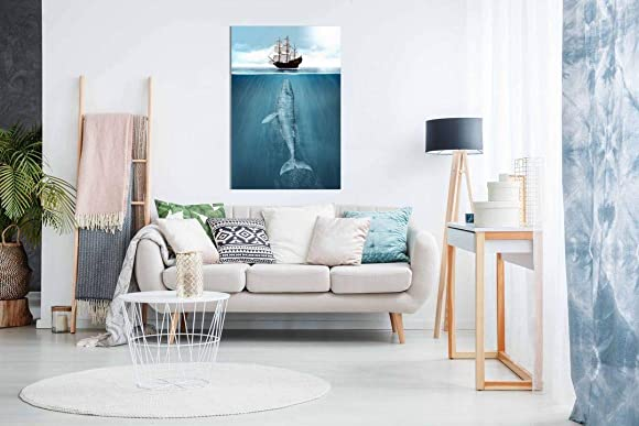 Whale Ship Maritime Bathroom Canvas Wall Art Picture Print Home Decor 36×24