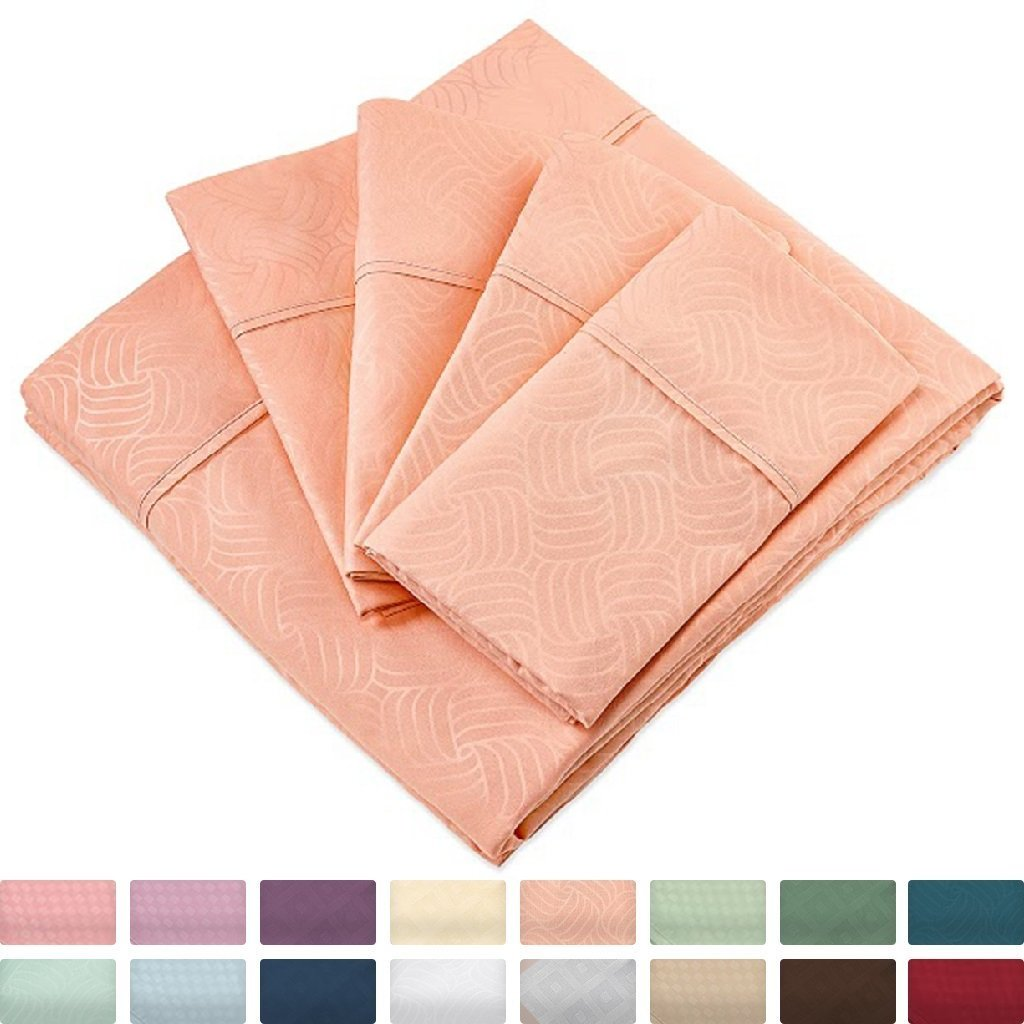 Cosy House Collection Elegant Bed Sheets - King Size, Peach (Wavy) - Luxury 6 Piece Hotel Bedding Set - Deep Pocket - Matte and Shine Beautiful Patterns - 1 Fitted, 1 Flat, 4 Pillow Cases