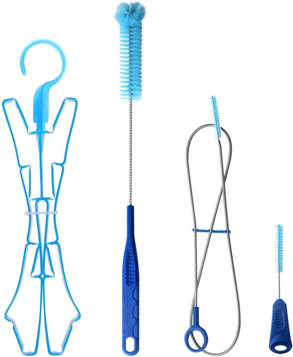 TAGVO Kit de Limpieza de la vejiga de hidratación para el depósito de Agua Universal, Limpiador 4 en 1 - Cepillo Largo Flexible, Cepillo pequeño, Cepillo Grande y Colgador Plegable …