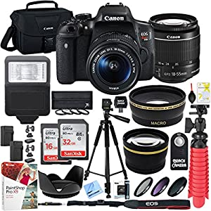 Canon T6i EOS Rebel DSLR Camera with EF-S 18-55mm f/3.5-5.6 IS II Lens and Two (2) SDHC Memory Cards (16GB & 32GB) Plus Triple Battery Tripod Cleaning Kit Accessory Bundle