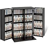 Broadway Contemporary Mdf/composite Wood Constructed Modern Black Finished with Two Adjustable Shelves Locking Dvd/cd Media Storage Cabinet