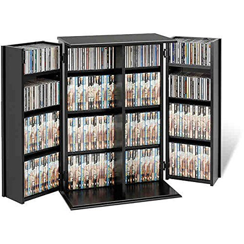 Broadway Contemporary Mdf/composite Wood Constructed Modern Black Finished with Two Adjustable Shelves Locking Dvd/cd Media Storage (Locking Cd / Dvd)