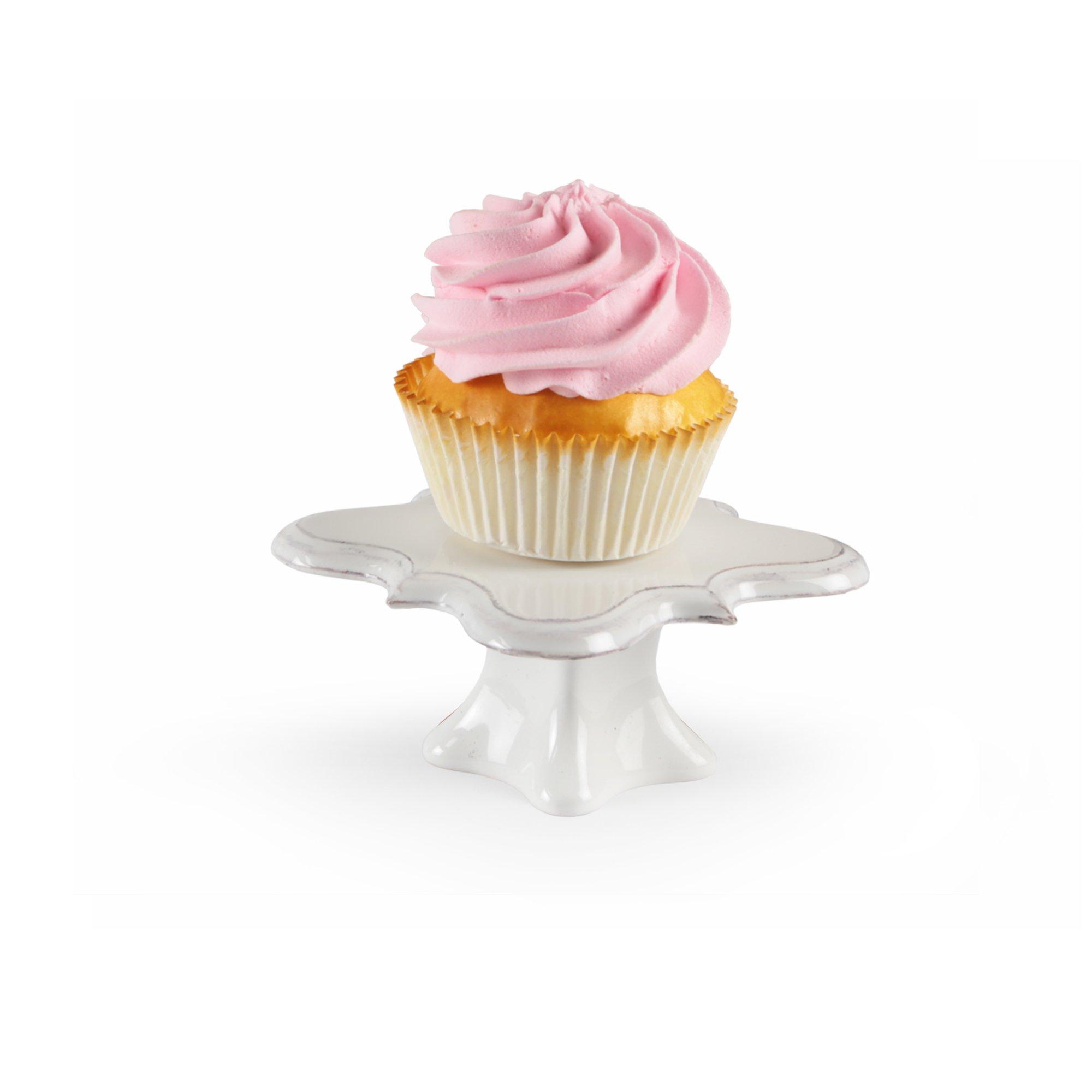 American Atelier 1562242 Bianca Square Cupcake Pedestal Plates (Set of 4), White