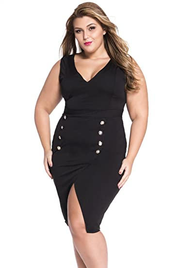 1c96e42a5bb Amazon.com  LOBiI78lu Women s Plus Size Military Gold Button Dress Black   Clothing