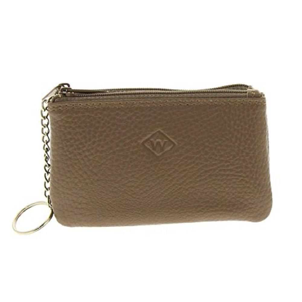 Porte monnaie 2 compartiments Cuir Vachette - Homme Femme double zip 12x7, 5x2, 5cm (Argent)