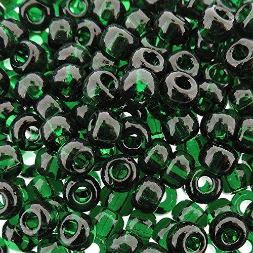 - Miyuki Round Rocaille Seed Beads Size 6/0 20g Transparent Dark Emerald Green