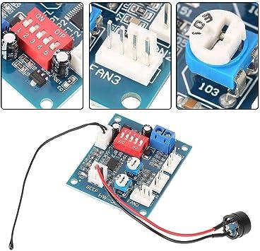 Zouminyy Controlador de velocidad del ventilador DC 12V Termostato ...
