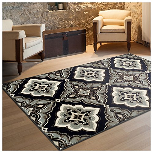 Superior Crawford Collection Area Rug, 8mm Pile Height with Jute Backing, Gorgeous Mediterranean Tile Pattern, Fashionable and Affordable Woven Rugs – 4′ x 6′ Rug, Black Review