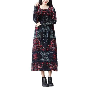 Amazon.com: Women Plus Size Folk-Custom Loose Long Sleeves ...
