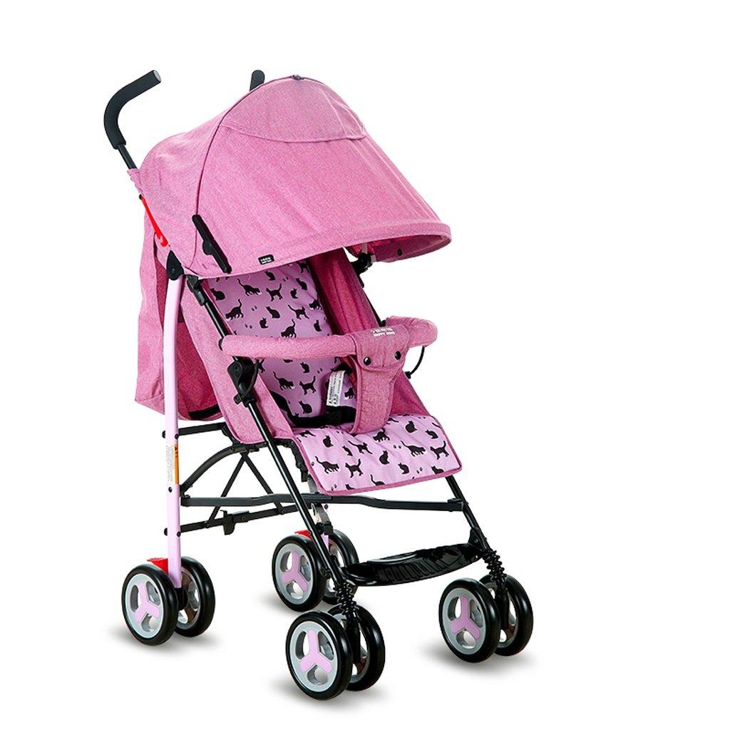 ベビーベビーカー軽量ポータブルリバーシブル子供用トロリー(ブルー)(ピンク)65 * 48 * 100cm ( Color : Pink ) B07BVKZT78