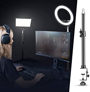 Neewer Tabletop Light Stand Clip Stand with 1/4inch Screw for Ring Light and LED Light, Aluminum Alloy, Adjustable 12.5-20.6 inches/32-52cm for Make Up, Live Streaming, Photo Video Shooting