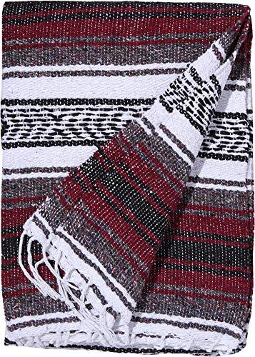 El Paso Designs Genuine Mexican Falsa Blanket - Yoga Studio Blanket, Colorful, Soft Woven Serape Imported from Mexico (Burgundy) by El Paso Designs (Image #1)