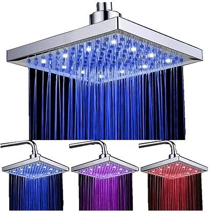 DELIPOP alcachofa de ducha de sensor de temperatura 3 cambio de color 8 Inch Square Spray