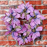 Christmas Wreath REYO Party Leaf Door Wall Decoration Handmade Window Ornament Garland Wreath (purple, Diameter :40cm/15.8'')