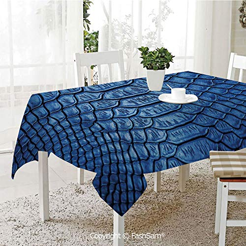 Desk Treasures Alligator (Premium Waterproof Table Cover Colored Snake Skin Pattern Alligator Fancy Luxury Leather Clothing Artwork Home Decor Washable Table Protectors for Family Dinners(W60 xL104))