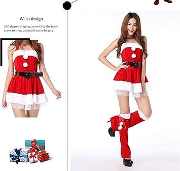 a87ef91364 WFTD Navidad Santa Claus Traje de Las Mujeres de Hombro Vestido de Liguero  de la Falda Conjunto de Terciopelo de Lujo Vestido de Noche Rojo   Amazon.es  ...