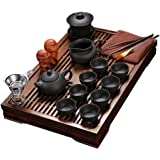 ufengkeExquisite Ceramic Porcelain kungfu Tea Cup Set with Lid and Wooden Tea Tray-E