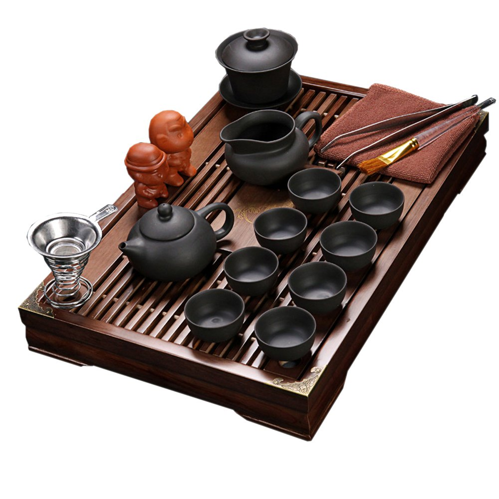 ufengke Exquisite Oriental Ceramic Porcelain Kung Fu Tea Cup Set With Wooden Tea Tray, Chinese Tea Service, Home And Office Use, Black