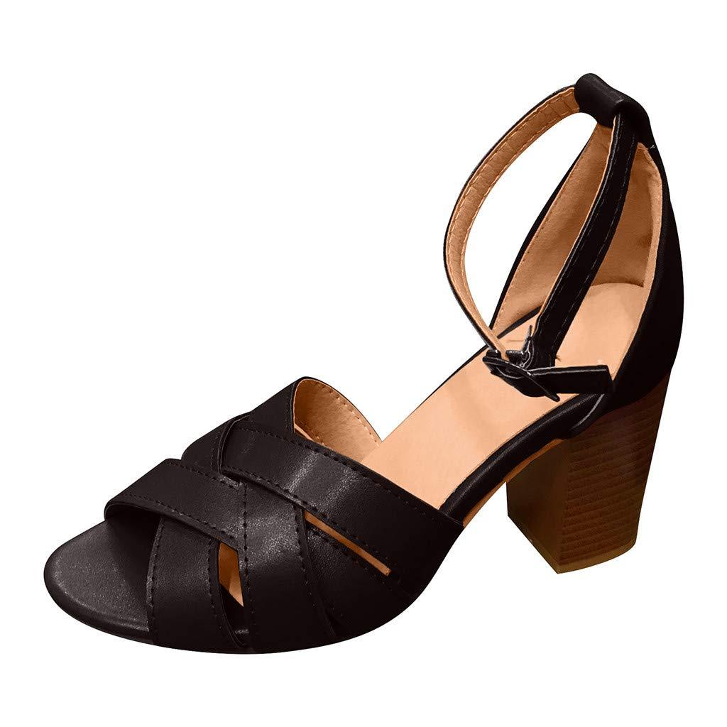 Malbaba Chunky Sandalias de tacón Alto para Mujeres Más el tamaño de Los Zapatos Peep Toe Cruz Correa de Punto Tobillo Hebilla Sandalias Black by Malbaba