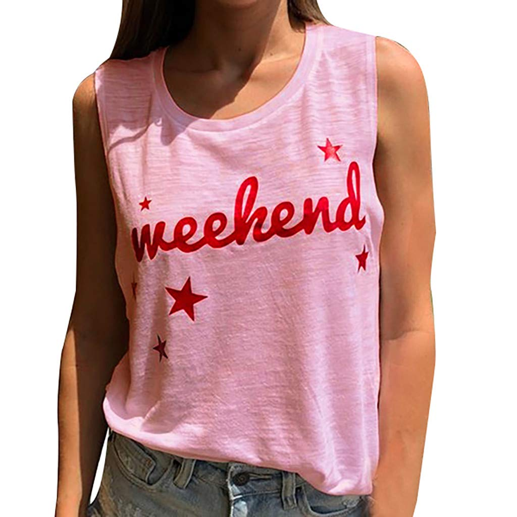 Tank Tops for Women Fashion Sleeveless Letter Print Casual Round Neck Summer Vest (S, Pink)