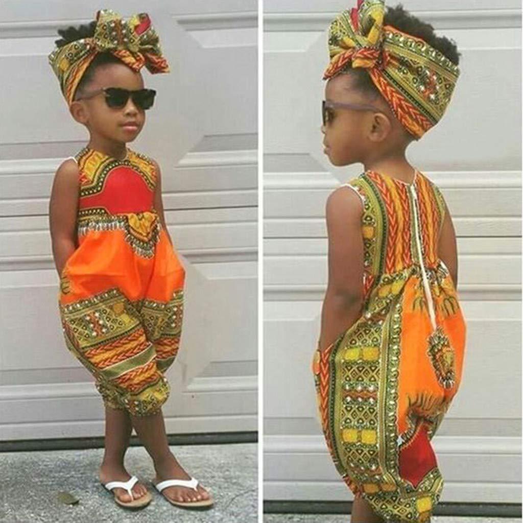 Sasstaids S/äuglinge Set Kleinkind Kinder Baby M/ädchen Outfits Kleidung Afrikanischer Print /Ärmel weniger Strampler Jumpsuit
