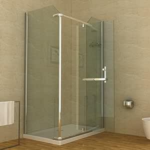Mampara de ducha plato de ducha 120 x 80 cm: Amazon.es: Bricolaje ...