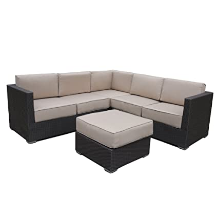 Abba Patio 4 Pcs All Weather Outdoor Wicker Sofa Sectional Set Patio  Furniture Sets With