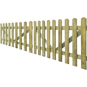 Anself Wooden Garden Picket Fence Gate Garden Border Set of 2 300x60 cm