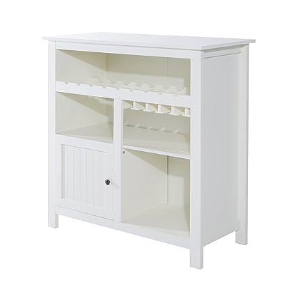 Homcom–Mueble con porta botellas y porta vasos de madera,