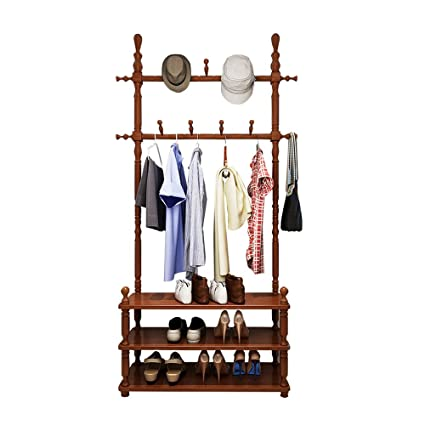 Shoe Rack Coat Hanger.Amazon Com European Style Solid Wood Coat Racks Landing