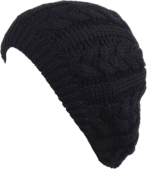 e7f02aa301112 BYOS Women s Winter Fleece Lined Urban Boho Slouchy Cable Knit Beret Beanie  Hat at Amazon Women s Clothing store