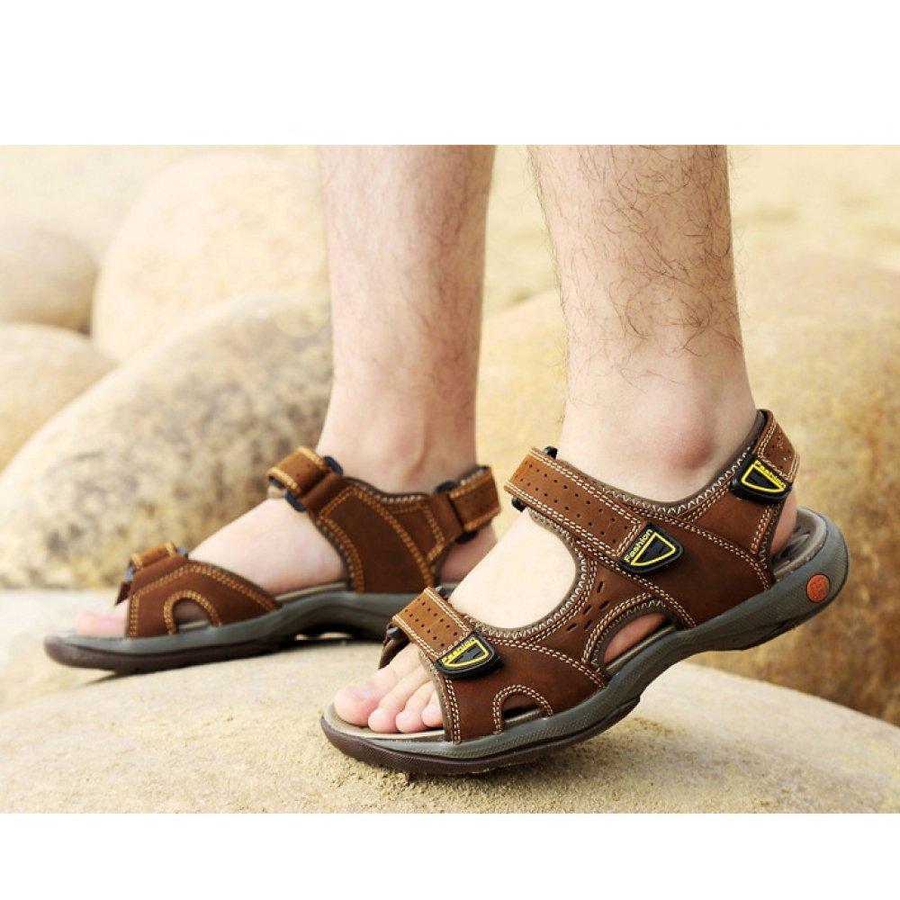 WKNBEU Herren Leder Braun Casual Sandalen Atmungsaktiv Baotou Outdoor Casual Braun Schuhe Strand Schuhe A 73f472