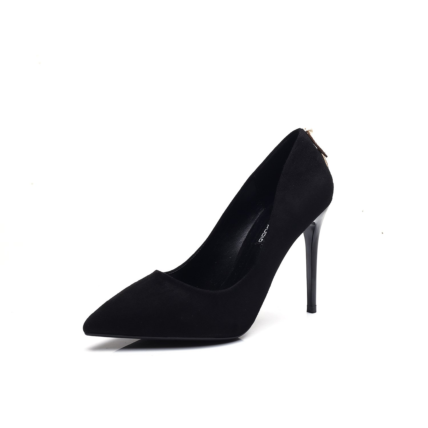 High-heeled shoes with a sexy fine tip waterproof Single Black, Black,34