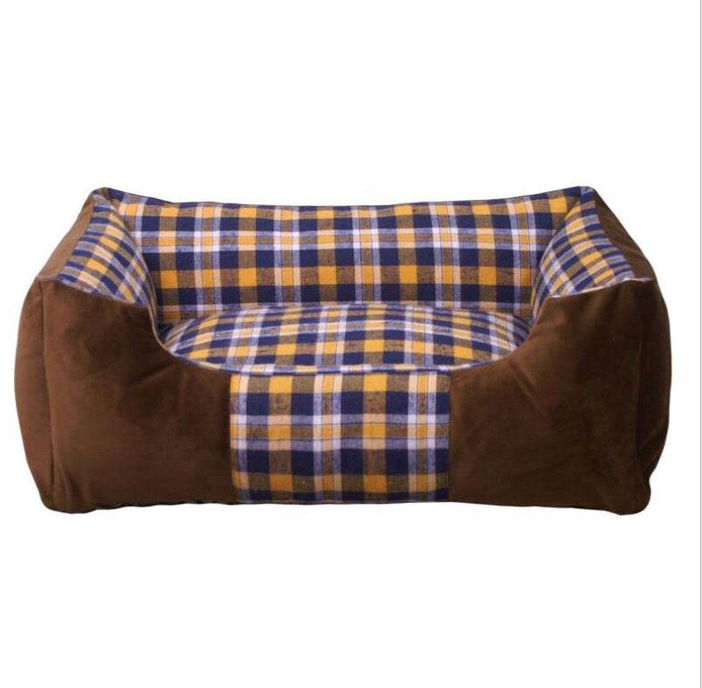 Brown M brown M WYXIN Lattice Kennel Comfortable Thick Warm Pet Bed Bite-resistant Removable Dog Cushion , brown , M
