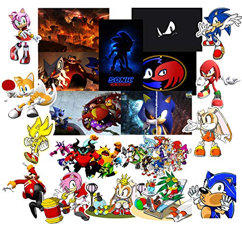 GToTd Sonic The Hedgehog 20 Pieces Vinyl Waterproof Stickers for Kids(Premium Quality)