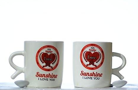buy lilone designer sunshine love printed pair of ceramic coffee mug rh amazon in
